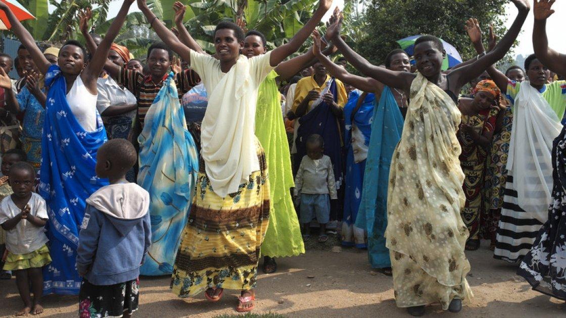 Women dance at a community health center in the southern Rwandan village of Gisagara. Photo: Cheney Orr / Concern Worldwide.