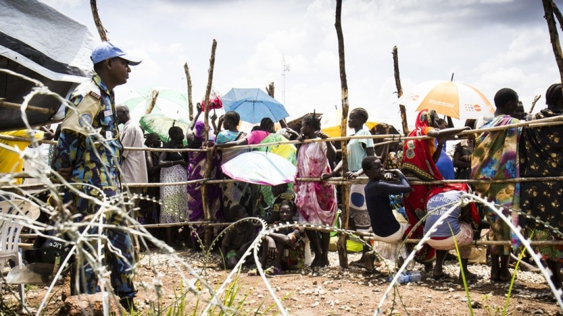Internally displaced people queuing at a Protection of Civilian camp near Juba, South Sudan.