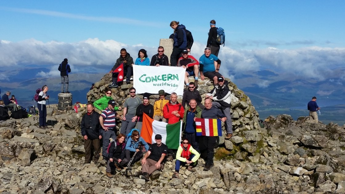 Concern fundraising hikers on the summit of Ben Nevis in 2015. Photo taken by Dermot Magee.