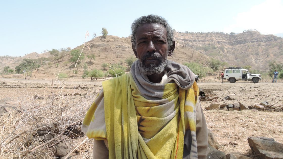 Tsesay Adse, a 68 year old grandfather and farmer from Tslemti woreda, Tigray, Ethiopia. Tsesay says that the current drought is the worst he has ever seen. Photograph taken in February 2016 by: David Hunn/Concern Worldwide.