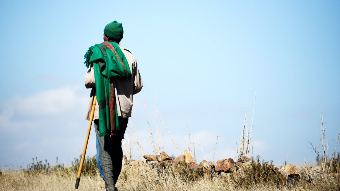 An Ethiopian farmer looks out over the drought-stricken land. Credit: Eun Young Kim / Concern Worldwide.