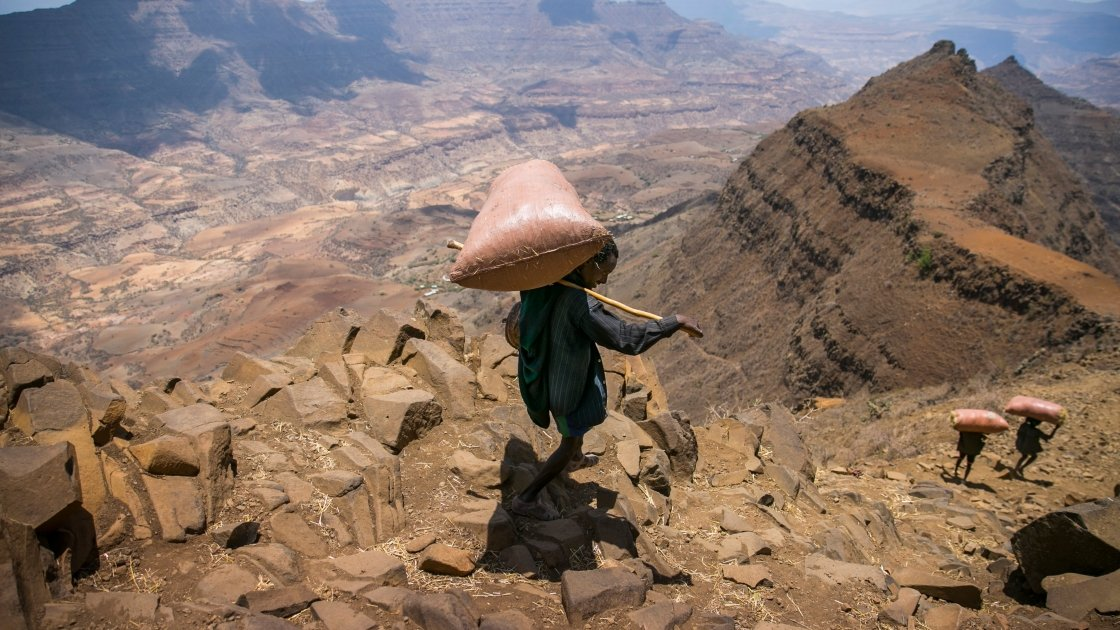 A valley in Amhara. In some parts of this region it hasn't rained properly for three years and all water sources have dried up. Some people walk up to five hours a day to collect water. Photo by: Kieran McConville/Concern Worldwide.