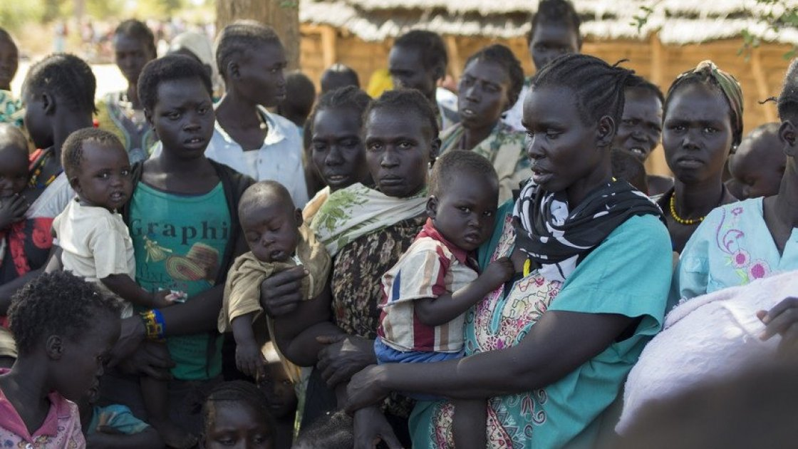 A mass nutrition screening of pregnant women, lactating mothers, and children under five in South Sudan. Photo: Kieran McConville/Concern Worldwide.