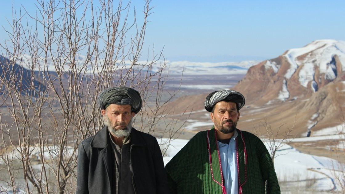 Villagers from Kozur in the north east of Afghanistan. Concern is working with the community to develop a community forest filled with almond, apricot, pistachio and mulberry trees. Photo: Concern Worldwide.