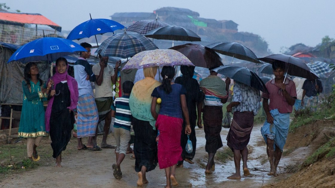 Wet scene weather at Moyhandhona camp in Cox's Bazar, Bangladesh. Photo: Kieran McConville/Concern Worldwide.