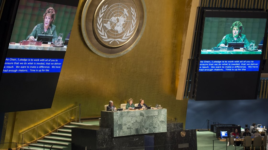 Ireland's Permanent Representative to the United Nations, Geraldine Byrne Nason, addressing the United Nations. Photo: UN Photo Library/Concern Worldwide.