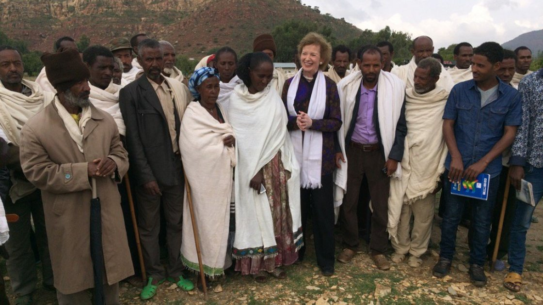UN Special Envoy for El Niño and Climate Mary Robinson with farmers at Gergera Watershed supported by Irish Aid, the Irish Embassy in Ethiopia and Concern. Photo: Concern Worldwide.