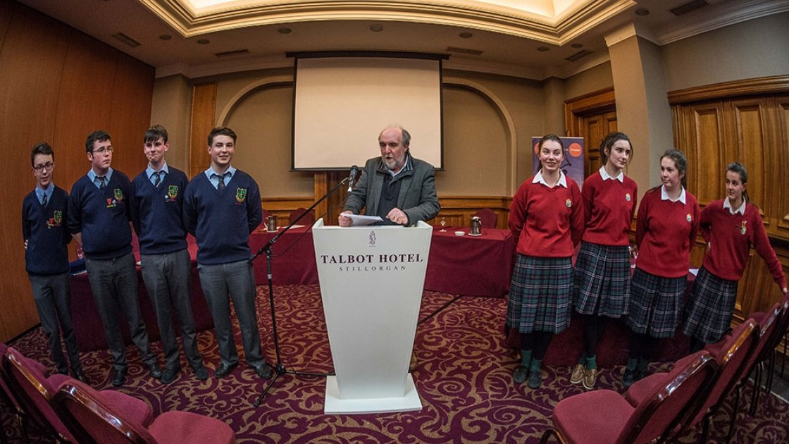 2017 Debates finalists St. Mary's CBS Carlow and Sacred Heart Secondary School, Clonakilty at the unveiling of the motion for the final. Photo: Concern Worldwide.