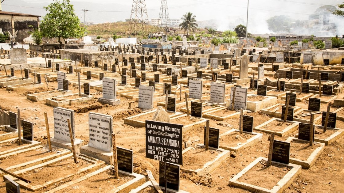 Thousands of graves at Kingtom cemetary in Sierra Leone.