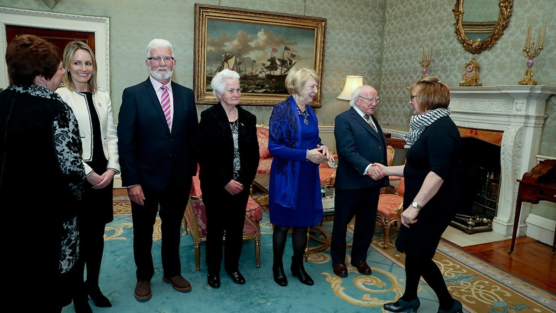 Karl Vekins (second facing from left) in Áras an Uachtaráin.Photo: Concern Worldwide