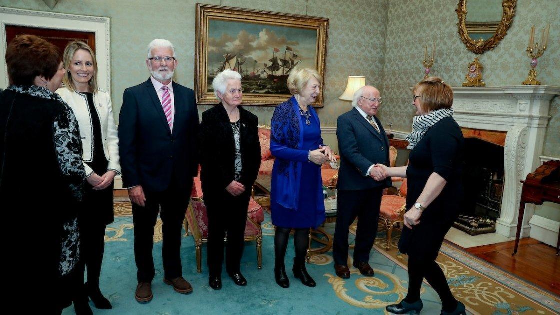 Karl Vekins (second facing from left) in Áras an Uachtaráin.Photo: Concern Worldwide