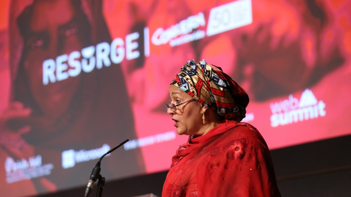 "Deputy Secretary-General of the UN Amina Mohammed speaking at Resurge2018, asks us to remember that the millions affected by conflict around the world ""are not numbers, nor are they data, they are very much individuals in need"". Photo: Photocall Ireland."