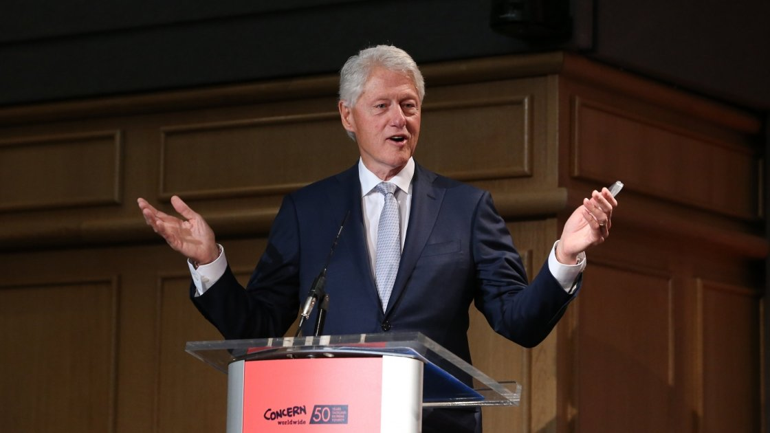 President Bill Clinton speaking at Concern Worldwide's Resurge2018 conference in Dublin Castle in September 2018. Photo: Photocall Ireland.