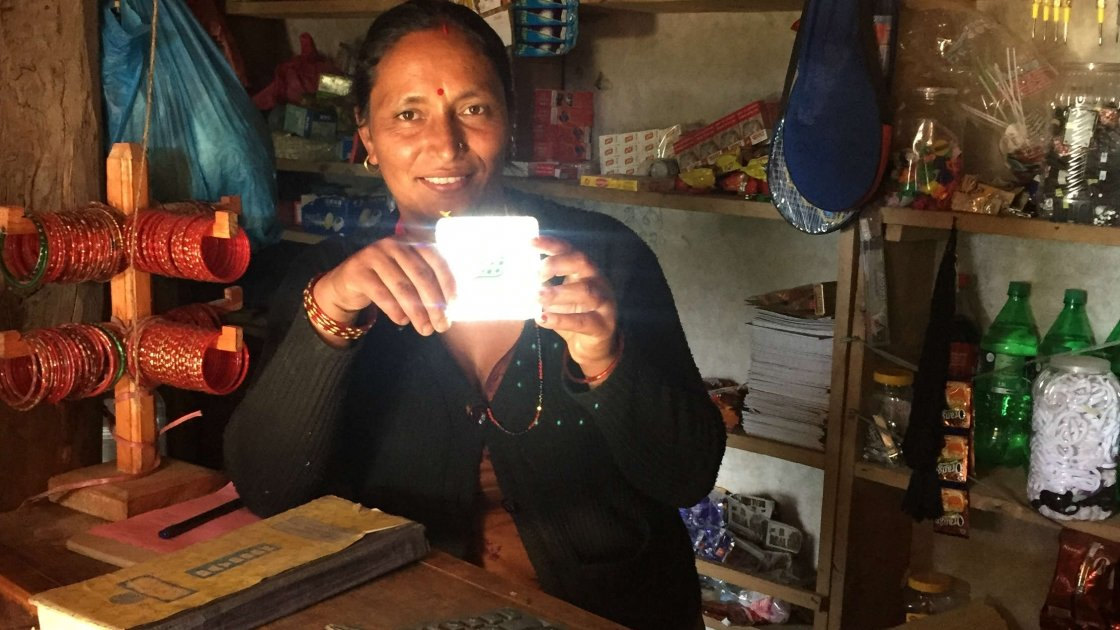 A solar panel light in Nepal. Photo: Concern Worldwide.