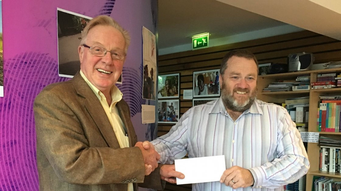 Tony Kelly from Tuam, Co. Galway with Concern's Richard Dixon. Tony received the Concern Summer Raffle jackpot prize of €4,000 in September 2016. Photo: Concern Worldwide.