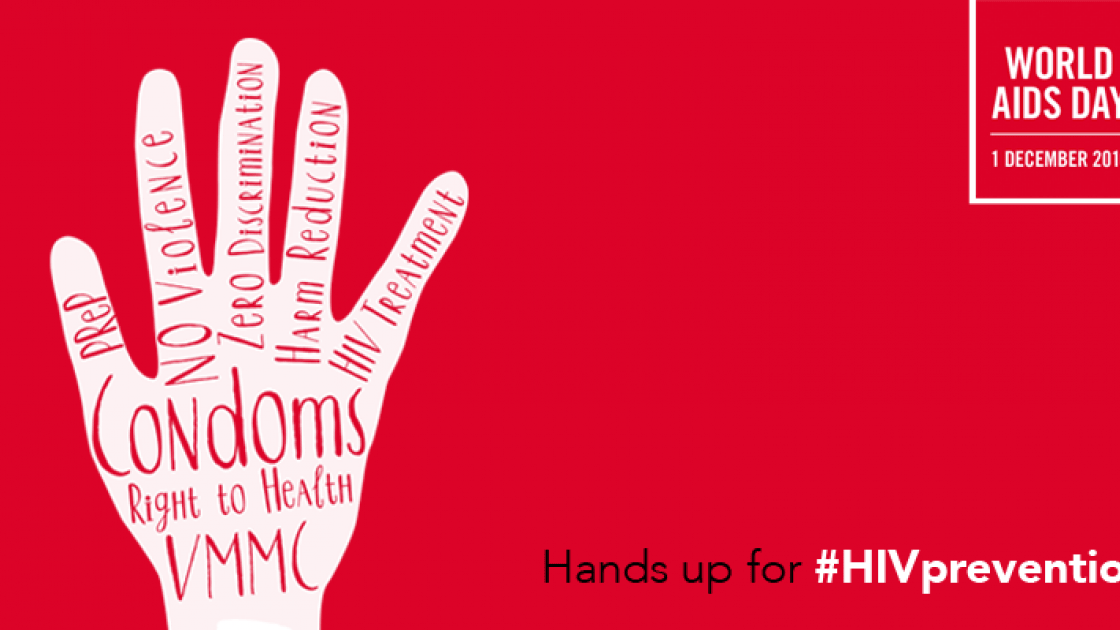 Hands up for #HIVPrevention – the theme of the 2016 World AIDS Day campaign. Image source: UNAIDS.