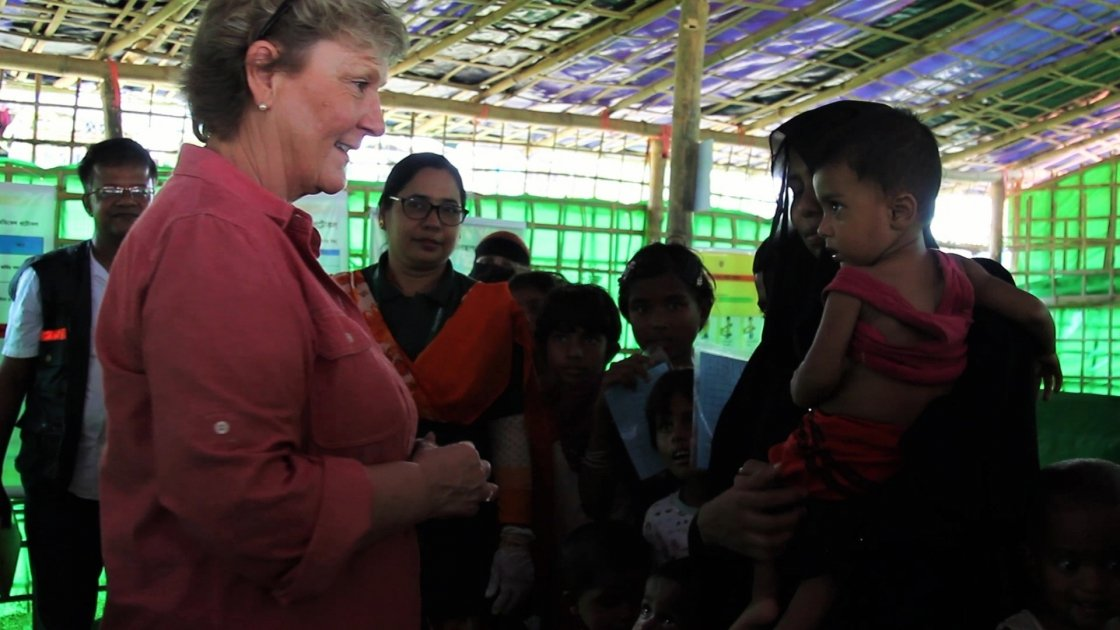 Anne O'Mahony visiting a Concern nutrition centre in Bangladesh. Photo: Concern Worldwide.