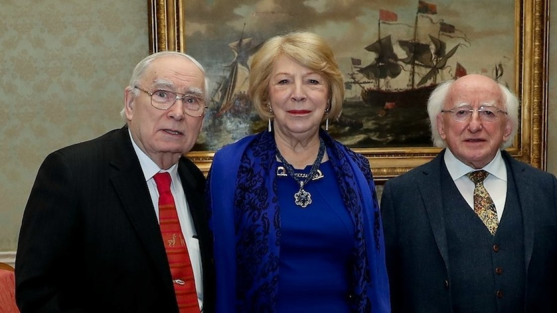 Concern co-founder John O'Loughlin Kennedy (left) with President Michael D Higgins and his wife Sabina Higgins at Áras an Uachtaráin