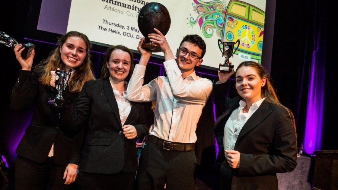 Concern Debates champions St. Kilian's German School from Clonskeagh holding their trophies at The Helix, Dublin. Photo: Ruth Medjber/Concern Worldwide.