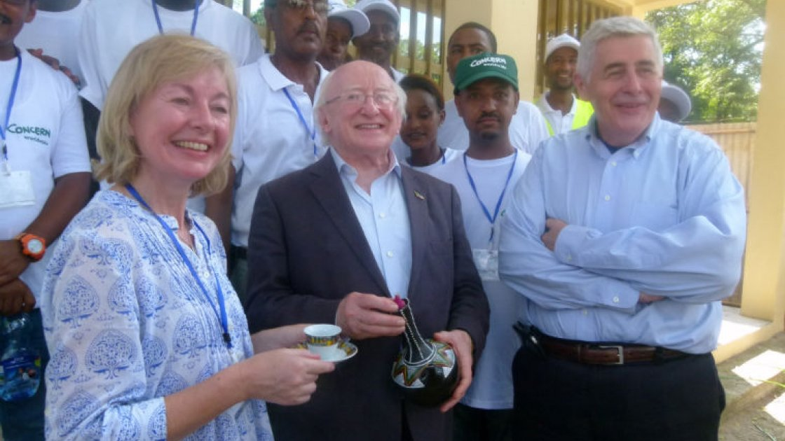 Irish President Michael D Higgins with Concern staff members during his recent visit to Ethiopia.