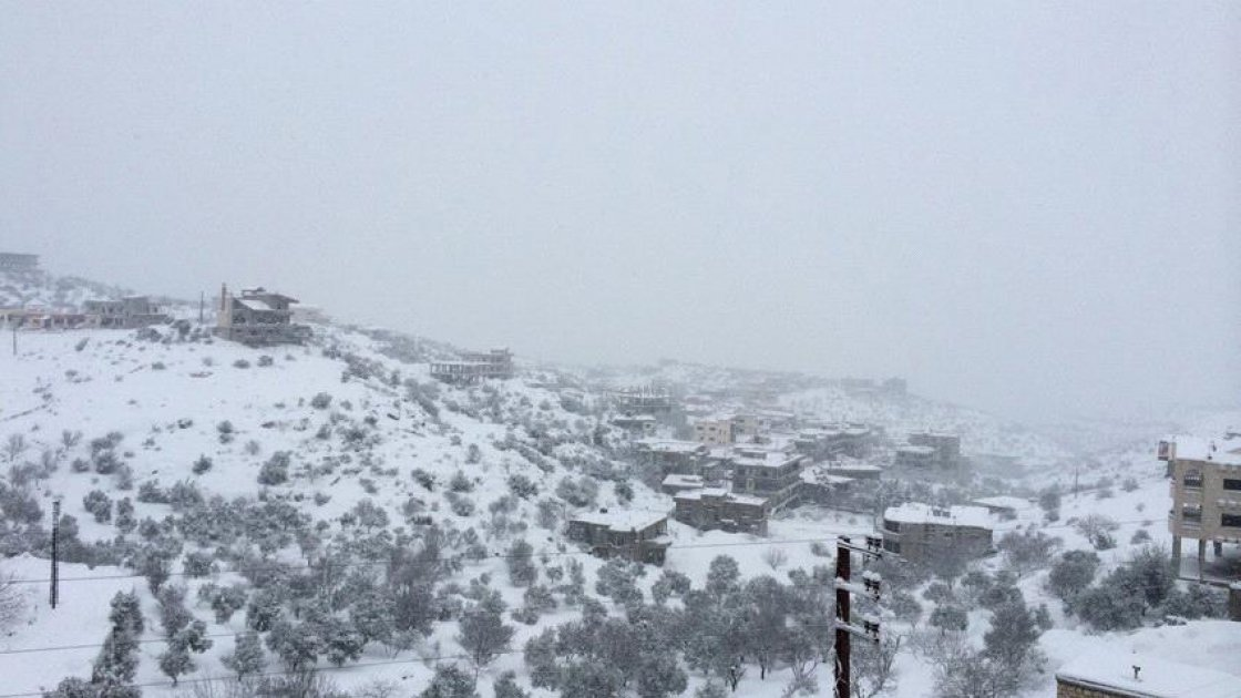 [Alt: Heavy snow storm covers Northern Lebanon. Photo taken by Hussein Aladraa.]