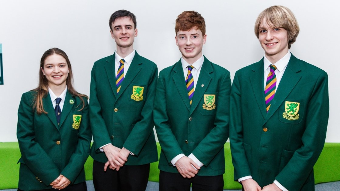 Sandford Park School debaters left to right Annabelle Ponsonby, Keelan Daye, Elliott Johns, Oscar Despard (captain)