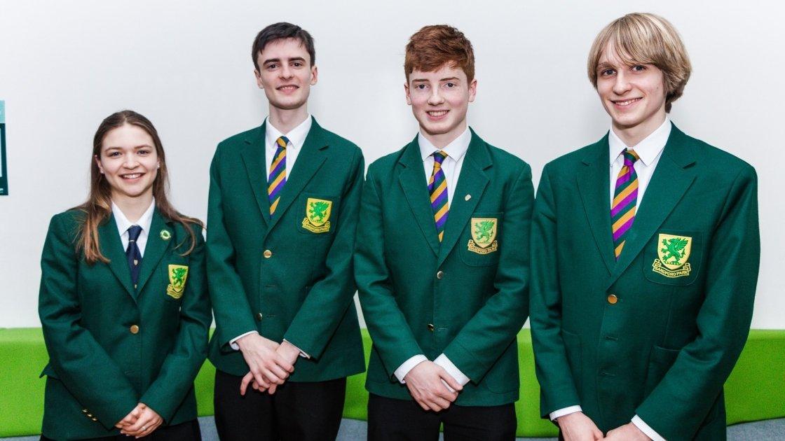 Sandford Park School debaters left to right Annabelle Ponsonby, Keelan Daye, Elliott Johns, Oscar Despard (captain)