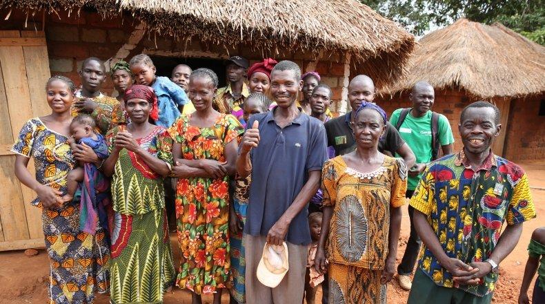 Farmers at their communal food store near the village of Kolongo. Photo: Kieran McConville / Concern Worldwide.
