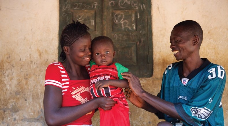 Alfred Kamara and family in Sierra Leone. Photo: Concern Worldwide