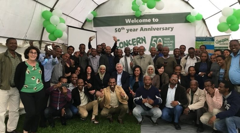 Concern CEO visits staff in Ethiopia. Photo: Concern Worldwide.
