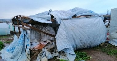 Storm damage caused to a tented settlement during a similar, separate storm earlier in 2019. Photo: Concern Worldwide