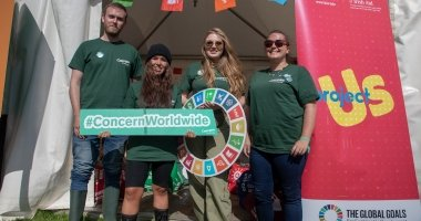 LtoR Liam Reynolds, Jessica Maguire, Claire Williams, Lauren Wright at the Concern tent at the Electric Picnic Festival in Stradbally, Co. Laois in 2019.