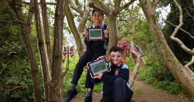 Nikolas Antoniou and Kai Molloy Gaffey of St. Brendan's primary school in Artane, Dublin playing the new Sutainimals video game made in partnership between TU Dublin and Concern Worldwide.