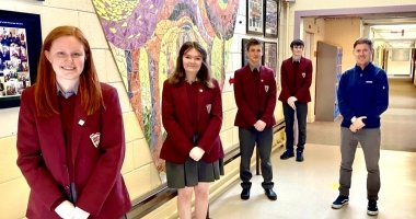 left to right Stephanie Doyle, Katie Doyle, Stanislav Ustinov, Dylan O Neill, Coach Leon Power of Presentation De La Salle in Bagenalstown, Carlow who won the Concern Debates Cup