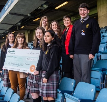 Holy Family Community school with Schools fundraising officer Noeleen Doyle. The school raised over €8000 for the Concern Fast in 2018. Photo: Ruth Medjber/ Concern Worldwide.