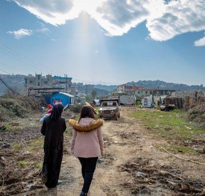 Two women walking in Lebanon