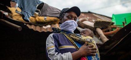 Margret and Charlyne outside their home in Kibera slum in Nairobi.