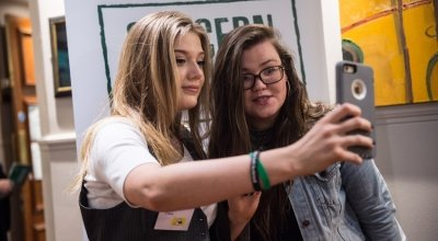 Jenny Gillen and Claire Williams taking a selfie at the Concern Debates Semi Final 2017. Photography by Ruth Medjber/ Concern Worldwide.