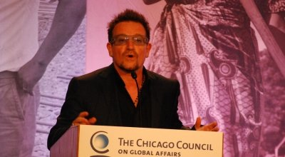 Bono addressing the Chicago Council on Global Affairs at the 2012 G8 Summit. Photo: Concern Worldwide.