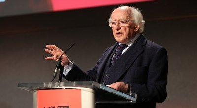 Michael D Higgins addressing Concern's 'Resurge' conference in Dublin Castle, September 2018. Photo: Photocall Ireland / Concern Worldwide