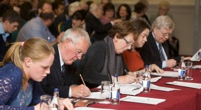 Adjudicators at a Concern Debates National Final. Photo: Mick Quinn.