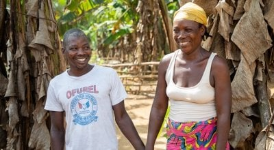 Rebecca Dolley with her husband Jeremiah in Nakai Town. Photo: Gavin Douglas/Concern Worldwide.