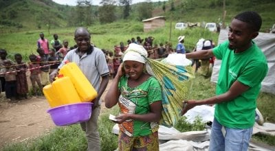 Non-food items being distributed by Concern in Masisi, Democratic Republic of Congo. Photo: Kieran McConville/ Concern Worldwide