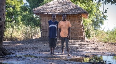 Joseph Fole (72) and son Friday Joseph (28). Their entire village in Malawi was washed away during Cyclone Idai, 2019. Photo: Concern Worldwide.