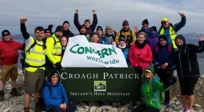 Concern Challengers at the top of Croagh Patrick, Mayo. Photo: Concern Worldwide.