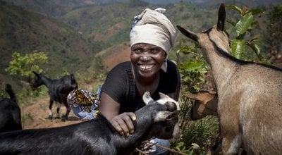 Meresiyana Cimpaye (40) with the goats she bought from the profits of her Graduation Programme cash transfer, at her home in Bukinanyana, Cibitoke, Burundi. Photo: Abbie Trayler-Smith / Concern Worldwide.