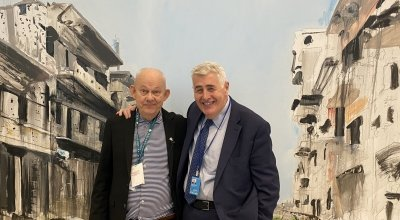 Artist Brian Maguire with Concern Worldwide CEO Dominic MacSorley. Photo: Concern Worldwide.