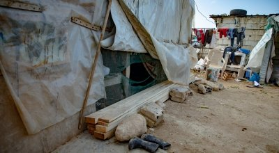 A makeshift shelter in Lebanon.