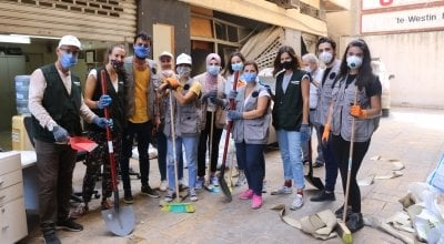 Members of Concern Lebanon volunteering with clean-up efforts in Beirut. Photo: Concern Worldwide.