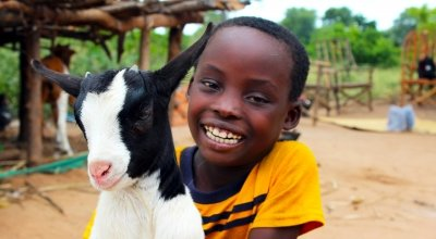 Nkhonde Maganizo (8) from Siki Village, Chithumba, Nsanje District, Malawi. Nkhonde's mother Jennifer used cash transfers from Concern to buy livestock, including goats. Her goats now are a great source of manure for her fields. When her goats reproduce, the kid goats will also do their part, and they will also be another source of income for Jennifer and her family. Photographer: Jason Kennedy / Concern Worldwide